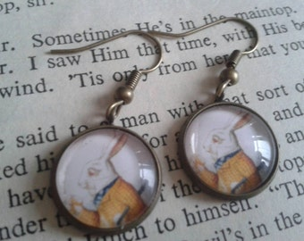 White Rabbit Alice in Wonderland earrings