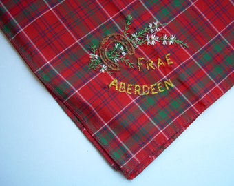 "SALE! TARTAN Red + Green Vintage Handkerchief ""Frae ABERDEEN"" fine embroidery Horseshoe + Heather motif"