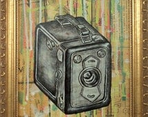 Zeiss Ikon Box Tengor Camera Original Framed Painting by Cindy Labrecque, 8 x 10 inches.
