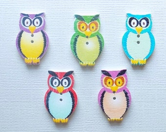 5 Wooden Owl Buttons - Quilting Buttons - Sewing Buttons - Embellishments - #SB-00063