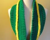 Crochet infinity scarf team colors Ducks