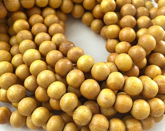 48 Nangka Wood Beads, Natural Wooden Beads, 8mm Round Yellow Wood Beads, Mala Beads (W8-04)