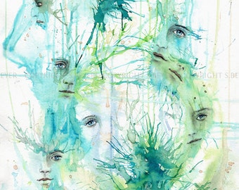 "Fantasy art ""Faces"" - 21x29cm fine art print, limited art print, Giclée"
