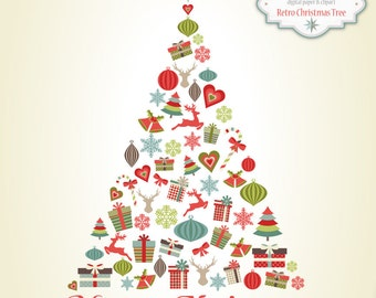 Retro Christmas Tree & Elements - Clip Art Set - 27 Printable cliparts for scrapbooking, cards, web - PNG- 300dpi-Christmas Ornaments