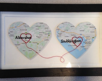 Couples love heart map