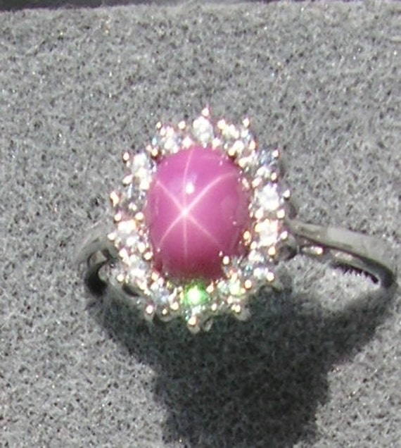 Vintage Linde Lindy Signed Pink Star Ruby Created Sapphire Mtd