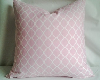 Pink and White Pillow Cover, 18x18 Pillow Cover, Decorative Pillow, Toss Pillow, Home Decor, Summer, Spring Decor, Nursery Decorations