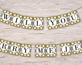 DIGITAL Proposal Banner, Gold Glitter Will You Marry Me? Banner, Wedding Proposal Engagement Bunting, Someone Special Garland, Diy Printable