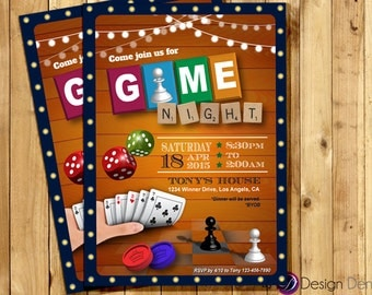 Game Night Invitation. Game Party invite.  Old school Games Invitation. Cards games, Poker, Chess invite   Printable Digital -  #A1036