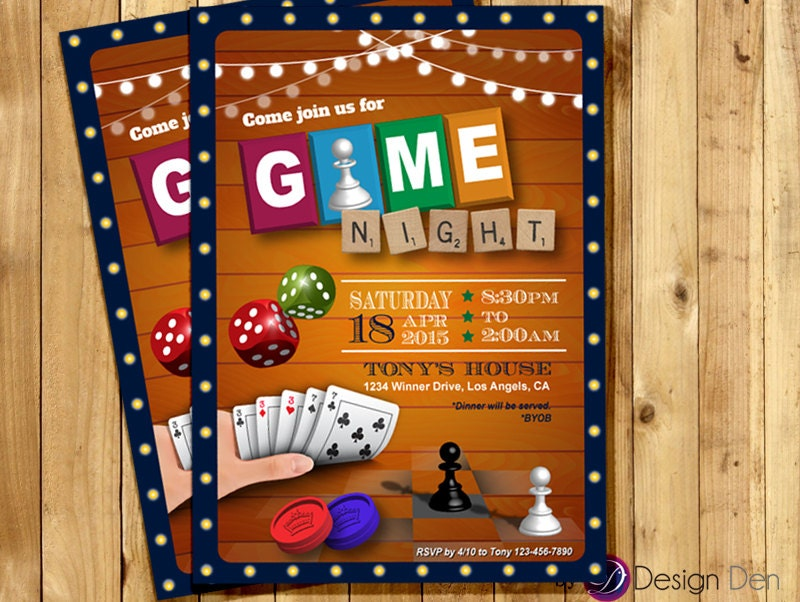 Game Night Invitation Game Party Invite Old School Games