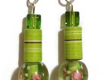 Lime Green Paper Bead Earrings, Paper Bead Jewelry, Paperbead Jewelry, Lime Green Dangle Earrings