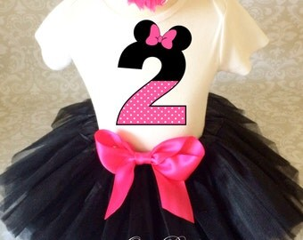 Birthday Dark Pink Black Minnie Mouse Inspired Ears dots 2 2nd Two Second Shirt & Tutu Set Girl Outfit Party Toddler Headband Custom Size