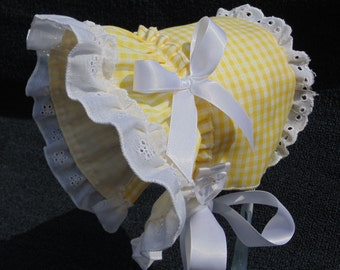 New Handmade Yellow Gingham with White Cotton Eyelet Lace Baby Sun Bonnet