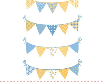 Shaby chic style bunting,yellow and blue, digital clipart