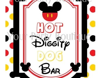 Mickey Mouse Clubhouse Party Food Sign - Hot Diggity Dog Bar
