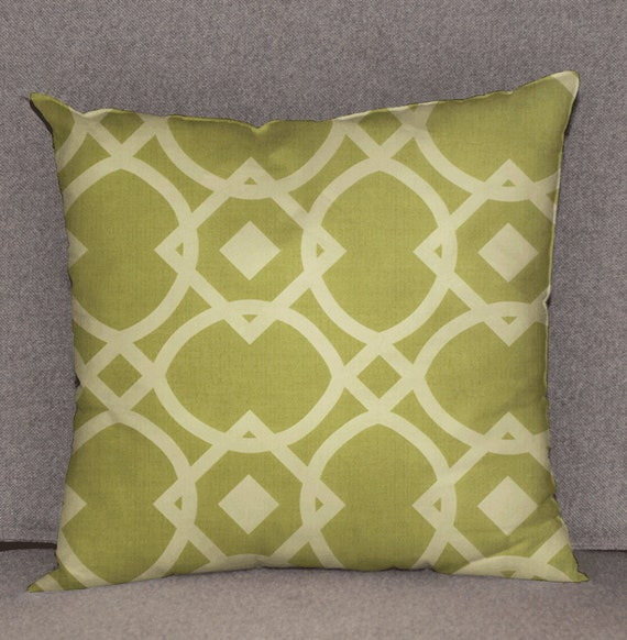 Pillow cover decorative cushions in Geo Olive by HotteCouture