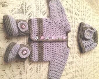 Baby Booties, Baby Cardigan, Baby Beanie Set 3, Purple and Gray Crochet Baby Set