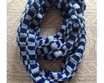 Ridge Check Long Scarf - Dark and Light Blue Infinity Cowl - Women Knitted Neck Wrap Warmer