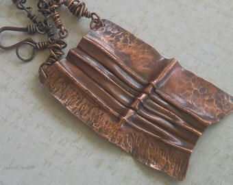 Copper Tribal Pendant Fold Formed with Hand crafted wire wrapped Chain