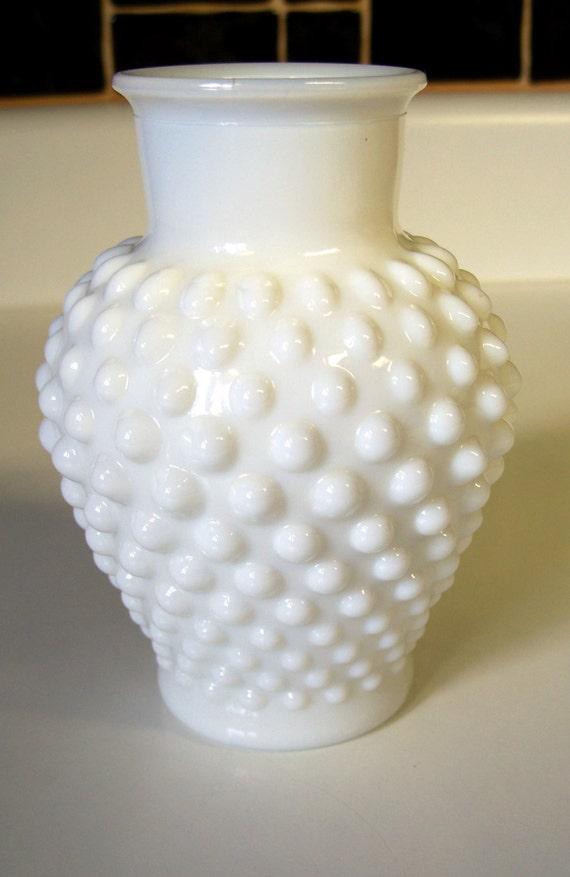 Fenton White Hobnail Vase