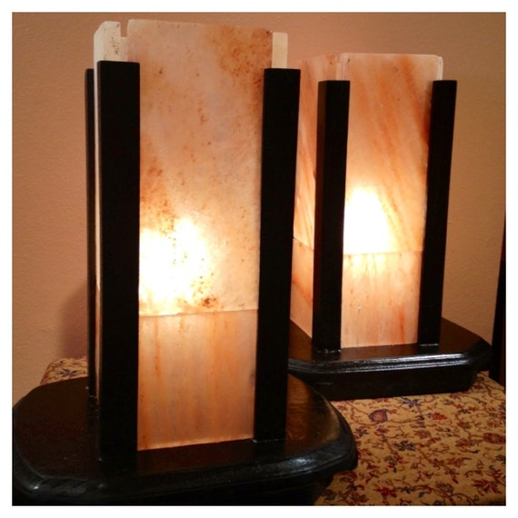 Salt Lamp Size Guide : Himalayan Salt Block Lamp, Large size, Table Lamp, Set of 2