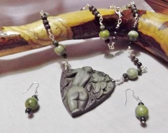 Ribbon Jasper Hand carved Goddess Pendant necklace and earring set