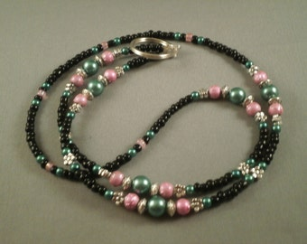 pink and green beaded  ID or ecig lanyard, fits most ecigs,  your choice of attachment: ecig , key or ID holder