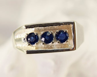 Sterling Silver and Sapphire Ring Mens Ring