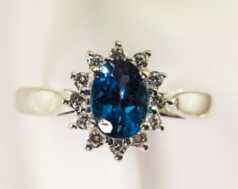 Sterling Silver London Blue Halo Ring