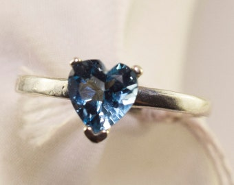 Rich Blue Topaz Heart Ring