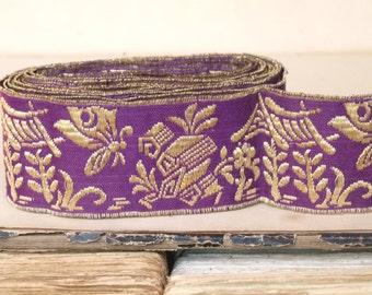 Antique metallic gold & purple heavy passementerie trim ribbon. thick gold  thread embroidery, chinoiserie, costume design, jewell