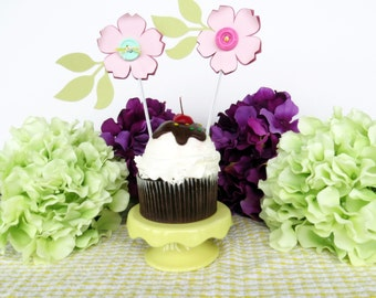 Cupcake toppers, flower cupcake decorations