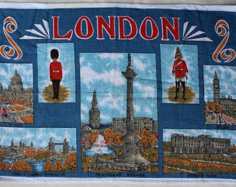 Vintage London Scene tea towel, cotton, made in India
