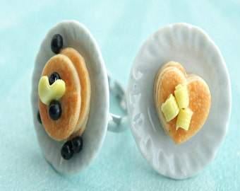 pancakes ring- breakfast jewelry, miniature food ring