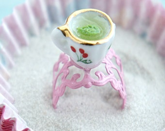 green tea ring- tea cup ring, tea party jewelry, miniature food jewelry, food ring