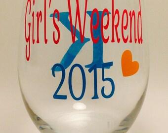 Girls Weekend Wine Glass-Best Friends Wine Glass- Set of 2-Personalized Girls Weekend, Best Friends Vacation Wine Glass-Gifts-Favors