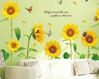 Flower Wall Decals Etsy - Custom vinyl wall decals flowers