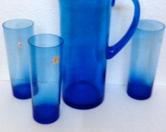 1950's Vintage Cobalt Blue Pitcher w/ (3) Highball Glasses