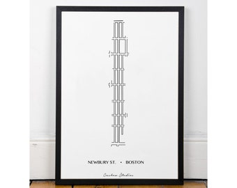 Newbury Street, Printable wall art, Boston art, minimalist, famous streets, INSTANT DOWNLOAD, city streets collection, Art,