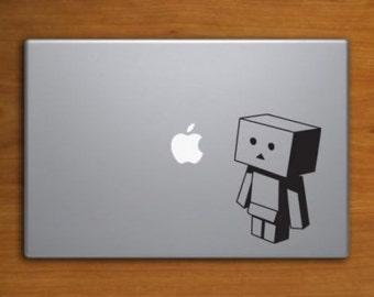 Robot vinyl sticker for laptops. Black decal
