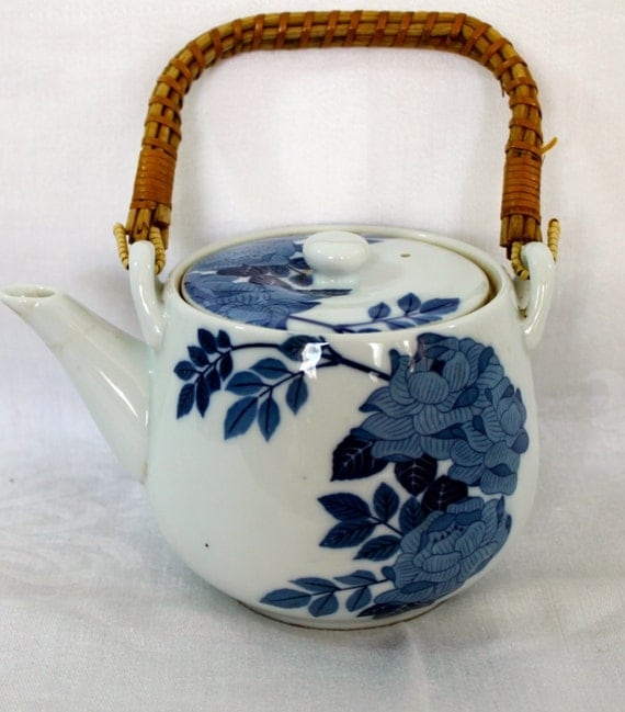 Vintage Japanese Blue And White Flower Patterned By