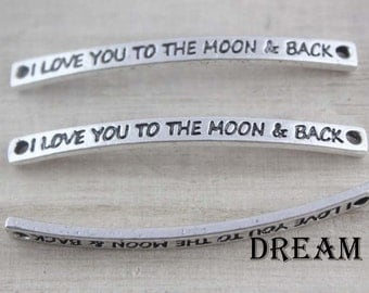I Love you to the moon and back bracelet connector, charms, bangle connector, infinity connector