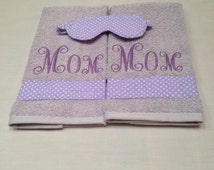 Two Piece Mothers Day hand Towel Set, Free Sleeping Mask, NicolasSewing, MothersDay Gift, NicolasEmbroidery, hand towel set, moms Gift