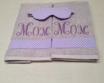 Two Piece Mom Hand Towel Set, Free Sleeping Mask, NicolasSewing, Christmas Gift, Mothers Day Gift, Birthday Gift, House Warming, Bath Decor