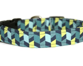 Blue Navy and Lime Dog Collar