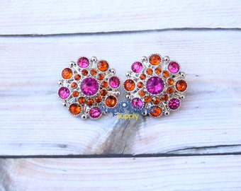 5 pc rhinestone button, 28mm hot pink and orange rhinestone button, 28mm rhinestone button, acrylic rhinestone button