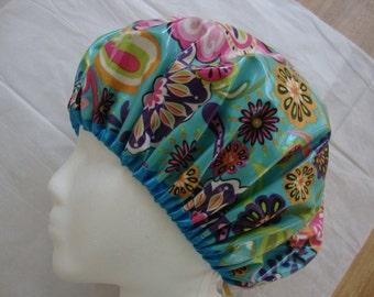 Floral Fantasy Classic Shower Caps-Aqua. Non-allergenic Laminated Cotton. One Adult Size.