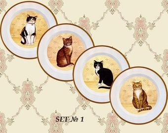 Cat decor, cat plates, cat wall art, cat wall decor, cat wall art print, cat lover gift, nursery wall decor, vintage cat, cat art print