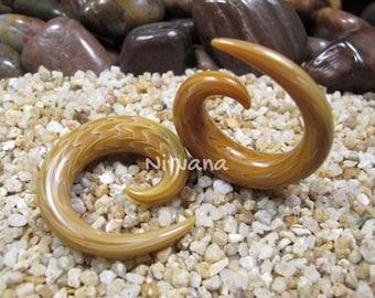 "Exotic Silver Earth Glass Spirals 10g 8g 6g 4g 2g 0g 00g 7/16"" 1/2"" 9/16"" 5/8"" 2.5 mm 3 mm 4 mm 5 mm 6 mm 8 mm 10 mm 12 mm 14 mm 16 mm"