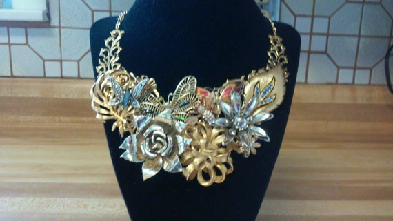 OOAK Bib Vintage Retro Bridal Wedding Collage Statement Necklace Daisy Rose Flower Butterflies